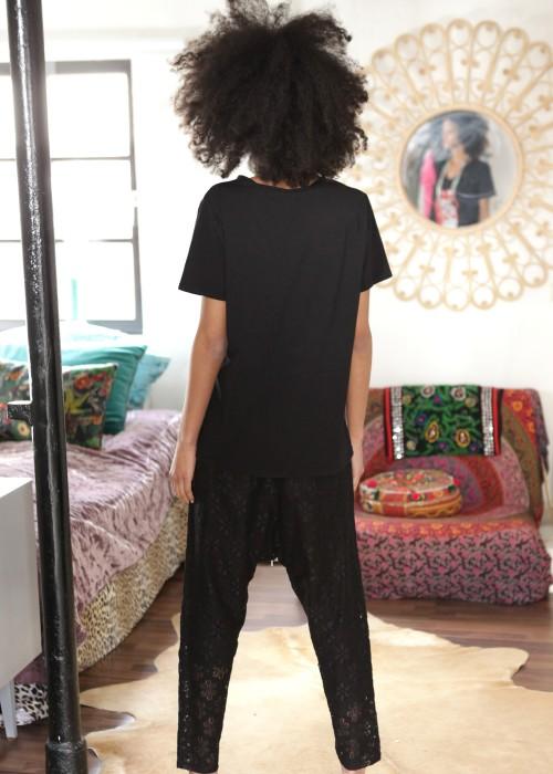 Boho Shirt Kiss schwarz