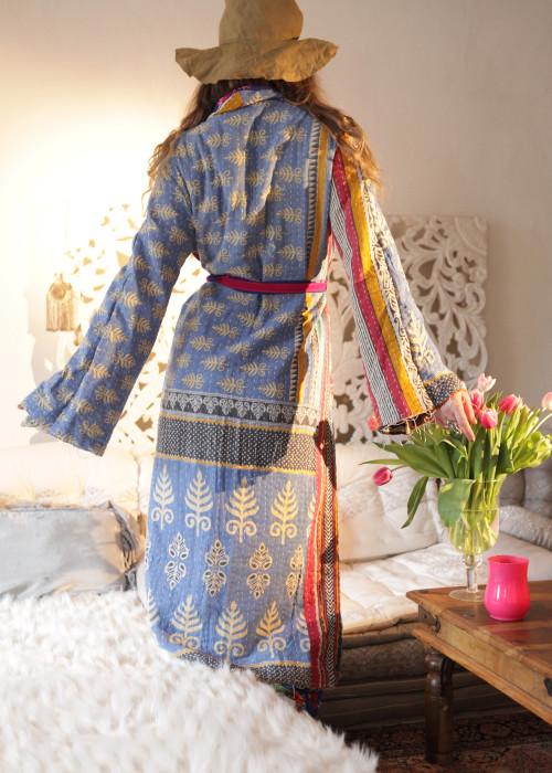 Boho Kimono Mantel Madhu Vintage hellblau