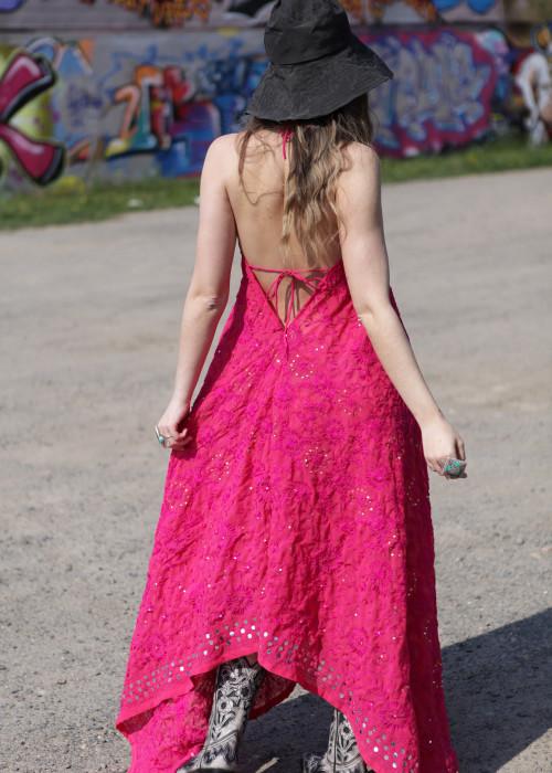 Boho Neckholderkleid Embroidery pink