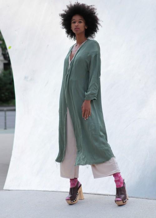 Boho Kimono Satin oliv
