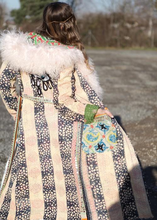 Boho Mantel Amisha Vintage Kapuze und Fell Eye