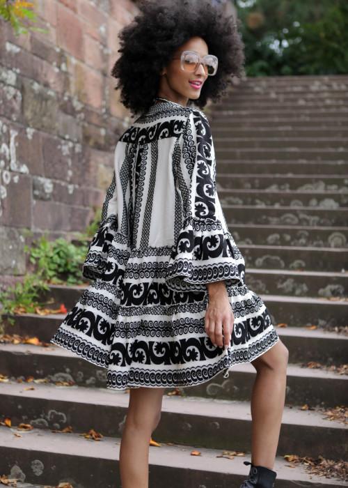 Boho Tunika Kleid Keffiyeh creme-schwarz