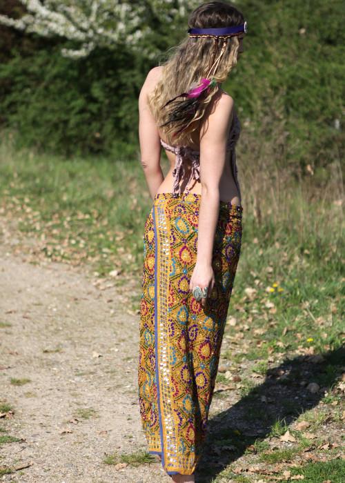 Boho Wickelrock Embroidery nude