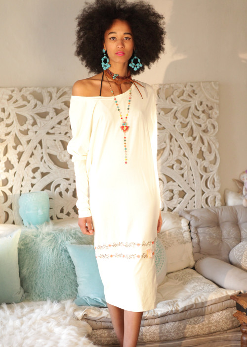 Boho Kleid Multiway offwhite