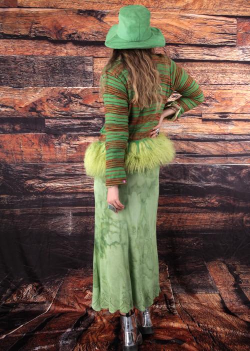 Boho Blazer mit Tibetlamm Stripes gruen