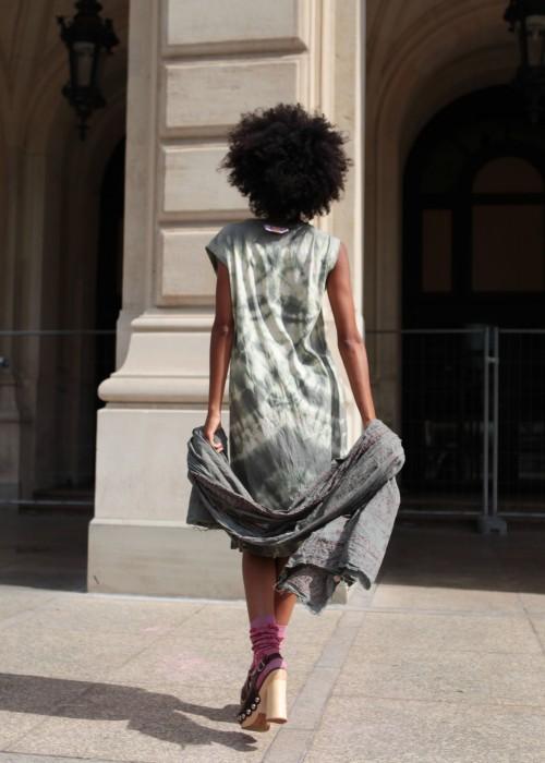 Boho Batik Shirt Kleid Oliv