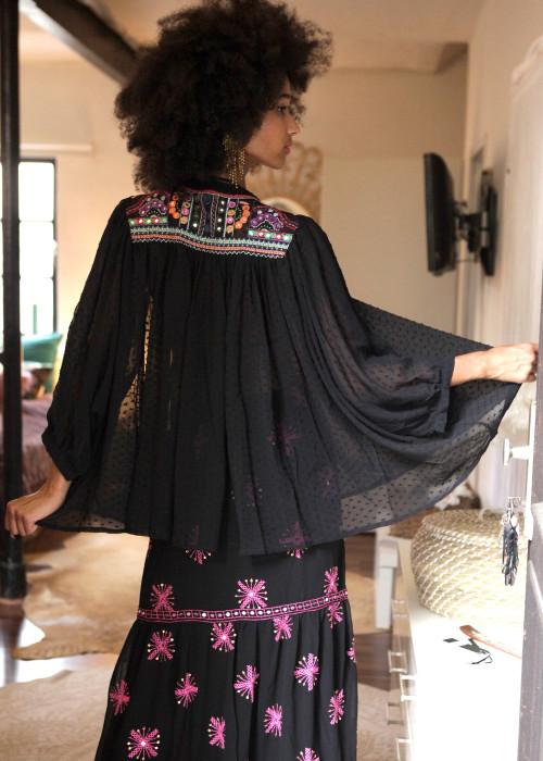 Babydoll Tunika Embroidery schwarz