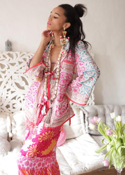 Boho Hemd-Jacke Embroidery offwhite-multicolor