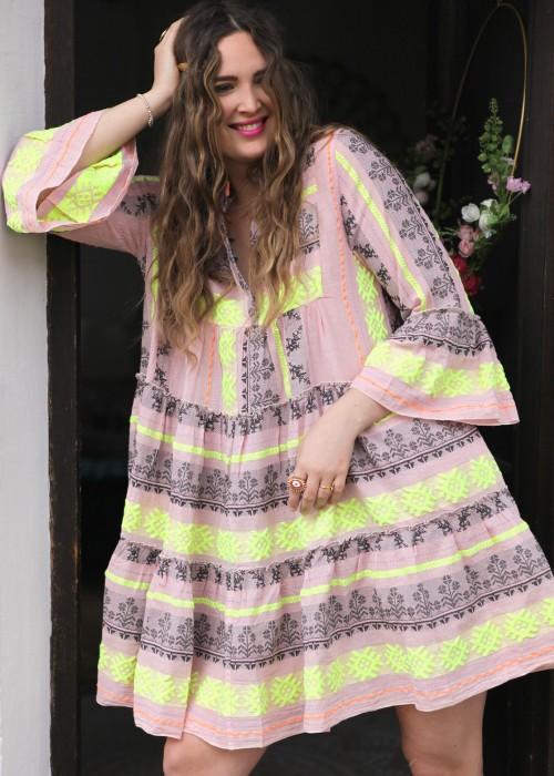 Boho Tunika Kleid Midi Keffiyeh pink-lime
