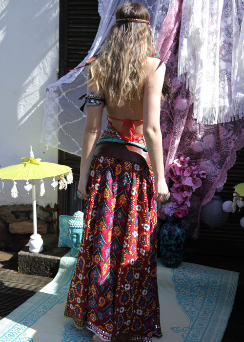 Boho Maxirock Gypsy Embroidery schoko