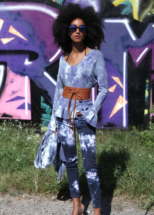 Batik Jeans blau