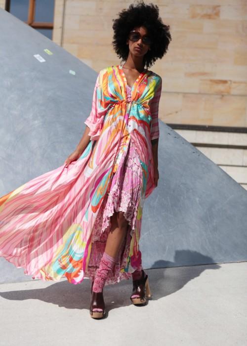 Boho Empire Kimono Mantel Maxi Kleid Biba