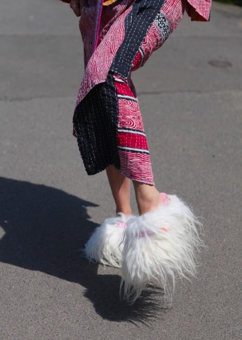 Boho Mules Tibethlamm weiss Size 39