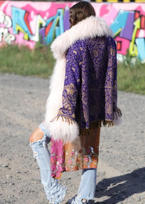 Boho Jacke mit Tibetlamm Pailsey Lila