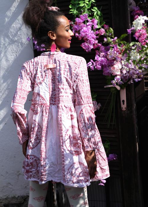 Bohemian Couture Jacke Krishna weiss-rot