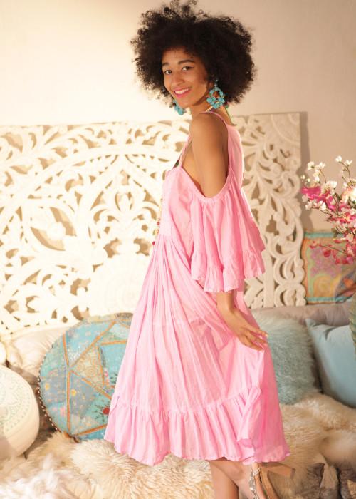 Boho Kleid Renewal Midi rosa