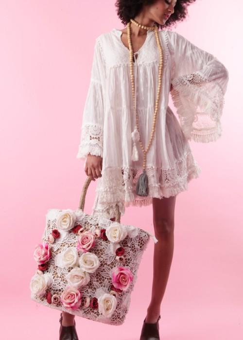 Boho Korb Tasche Rose Lace weiss