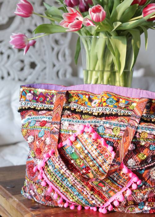 Boho Tasche Beach Shopper pink-multicolor