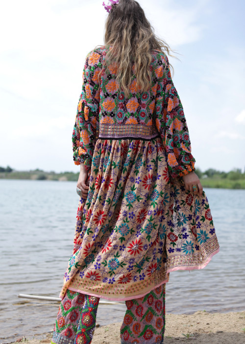 Boho Mantelkleid Babydoll Embroidery lachs