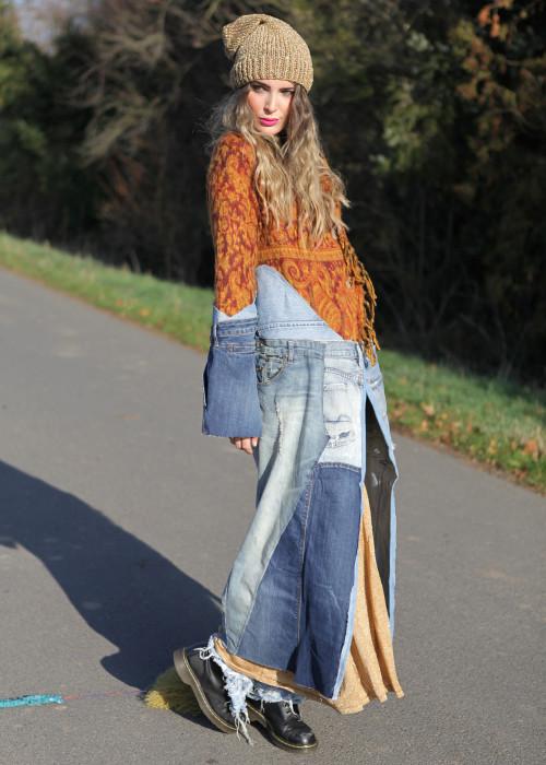 Boho Mantel mit Tibetlamm Stola Jeans Vintage rost