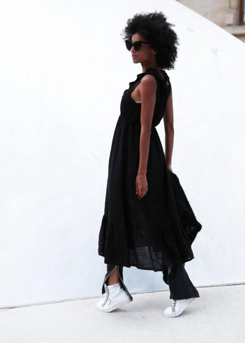 Boho Crunch Maxi Kleid Leinen black