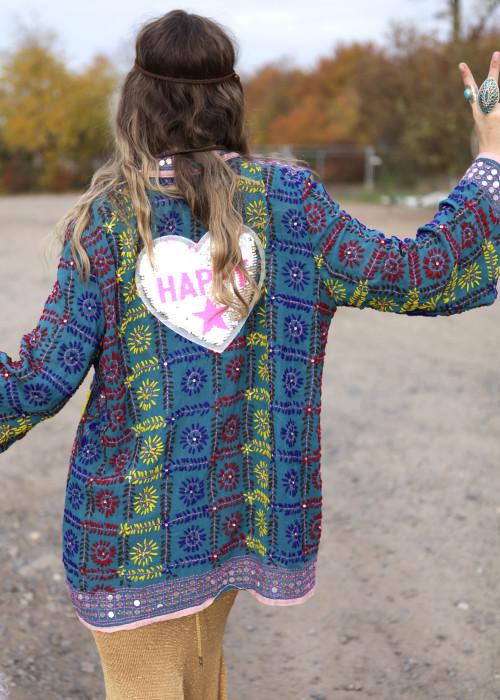 Boho Hemd-Jacke Embroidery Heart petrol