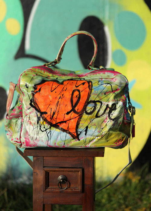 Boho Bag Glam Flower Heart Orange