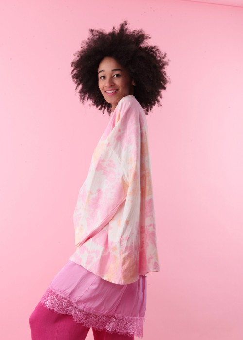 Boho Oversize XXL Shirt Batik rosa