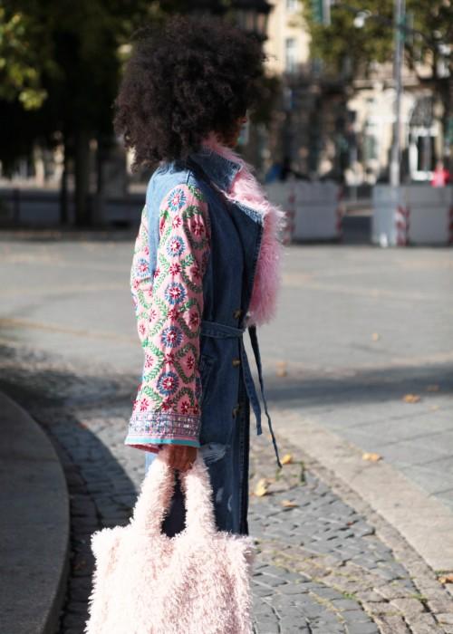 Boho Vintage Jeans Mantel rosa rosa