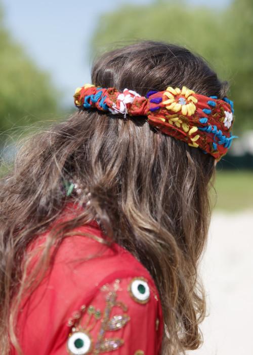 Boho Stirnband Embroidery braun