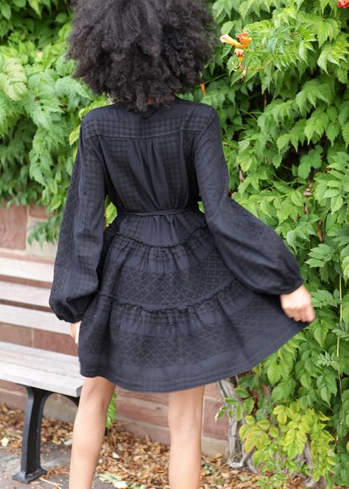 Boho Tunika Wickel Kleid Keffiyeh schwarz