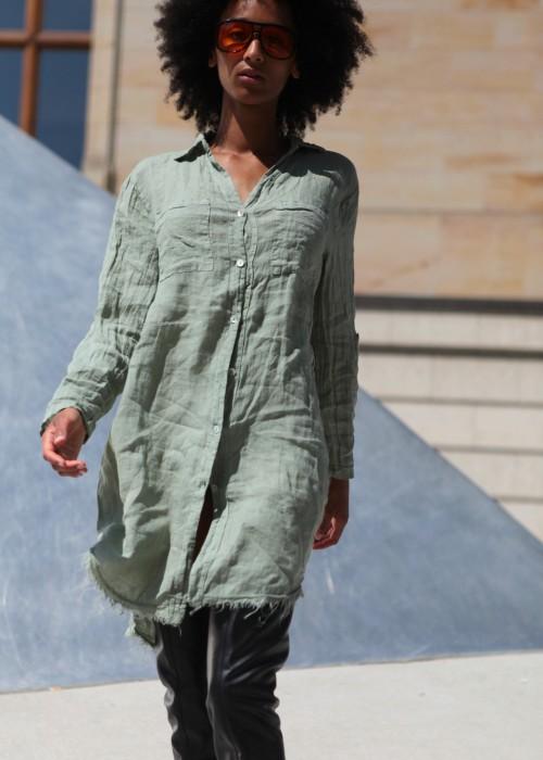 Boho Tunika Kleid Leinen oliv