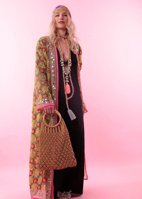Boho Kimono Suki gelb-rosa
