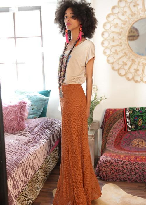 Seventies Hose Lace braun