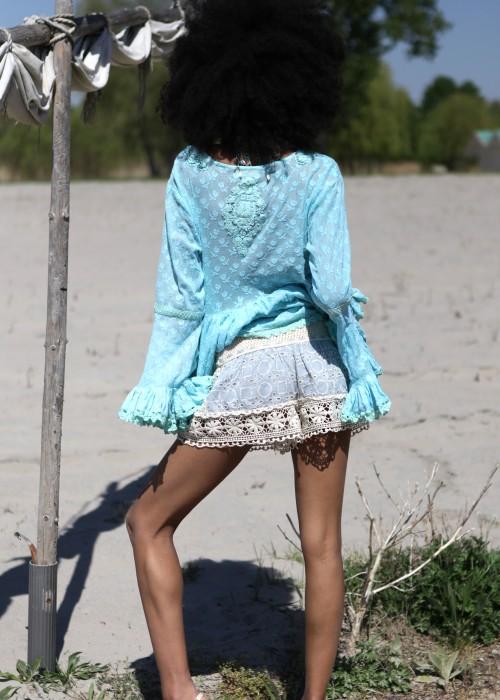 Boho Lingerie Pantie blau creme