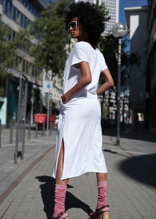 Boho Long Shirt Kleid Eye weiss