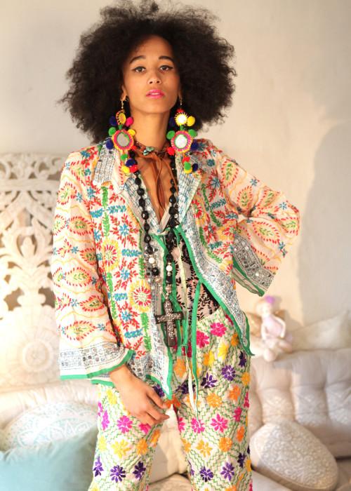 Boho Hemd-Jacke Embroidery offwhite-multi