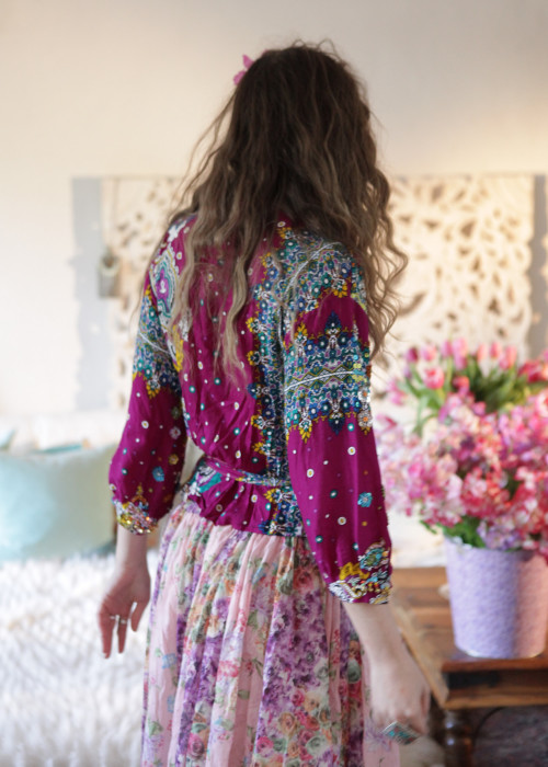 Boho Wickelbluse Sequins magenta-multicolor