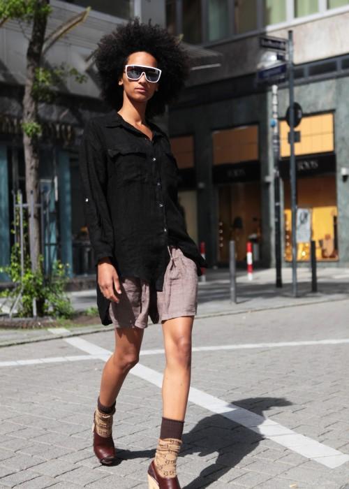 Boho Tunika Kleid Leinen schwarz
