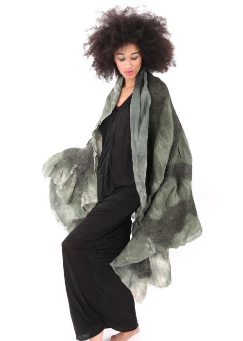 Oversize Stola Organic Cotton Wool green
