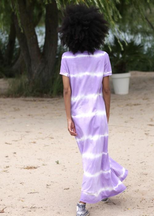 Boho Shirt Maxikleid Batik flieder