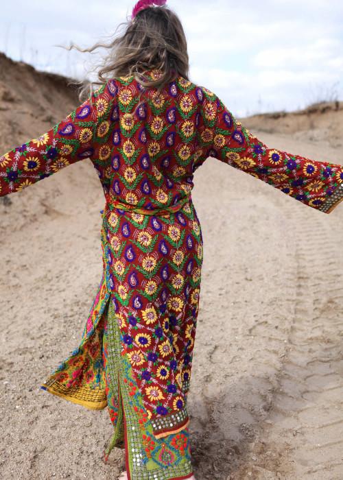 Boho Kimono Mantel Embroidery gelb-braun