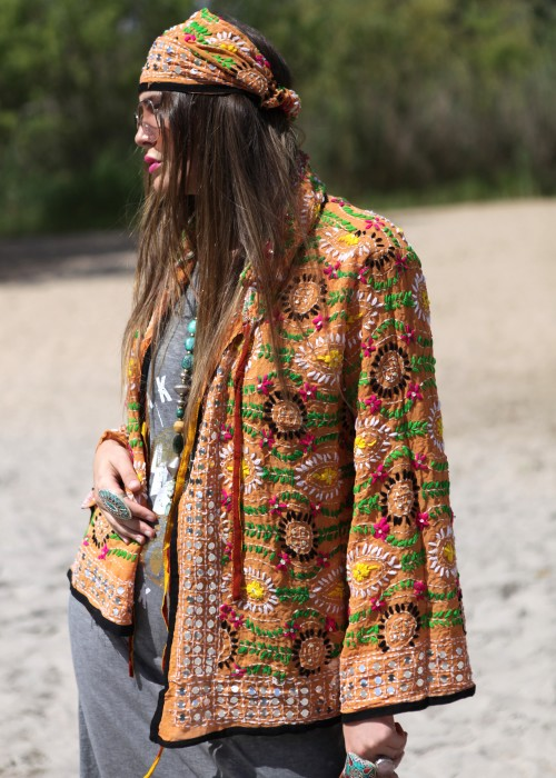 Boho Hemd-Jacke Embroidery Orange