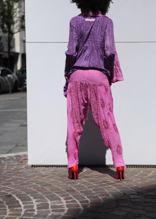 Bohemian Plissee Hose pink