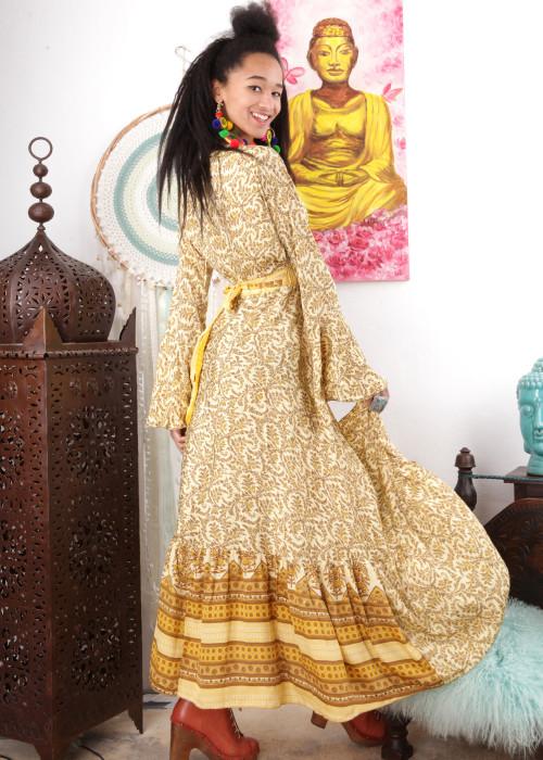 Boho Maxi-Wickelkleid Gypsy Flower gelb