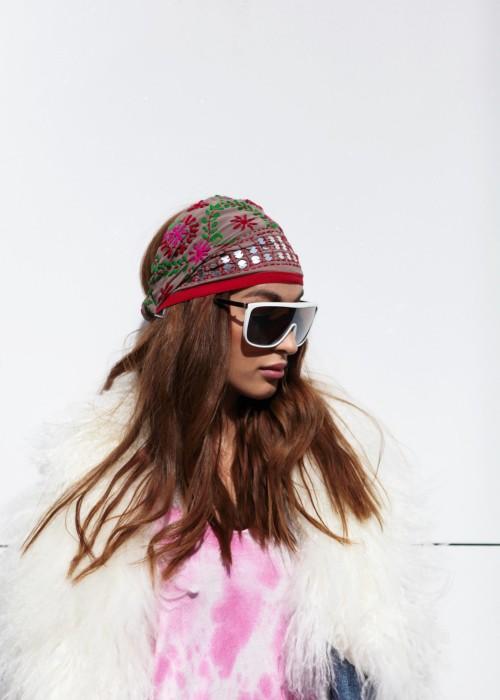 Boho Stirnband Embroidery lila-braun