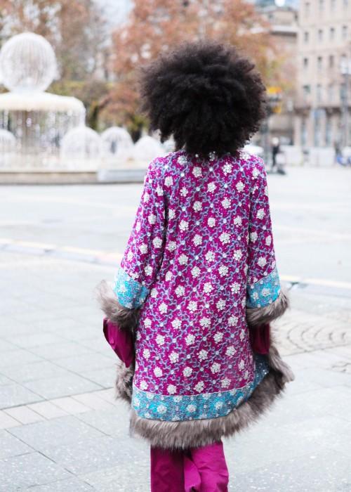 Boho Mantel mit Kunstfell magenta-grau