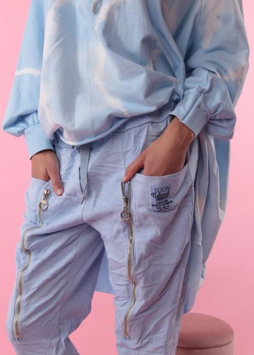 Sweat Hose Zip Hellblau