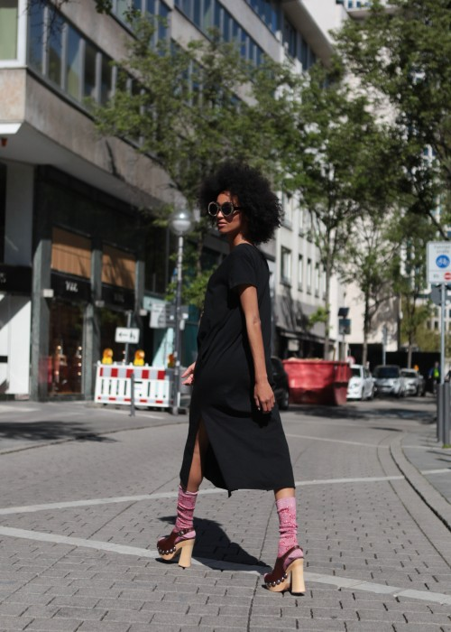 Boho Long Shirt Kleid Eye schwarz