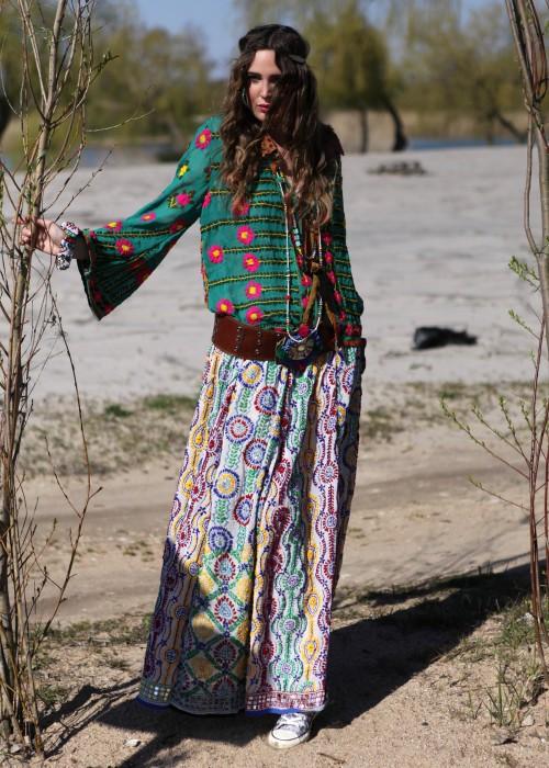 Boho Maxirock Gypsy Embroidery blau-weiss